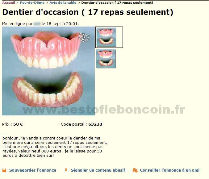 Dentier servis 17 fois arts de la table auvergne for Le bon coin 85 ameublement