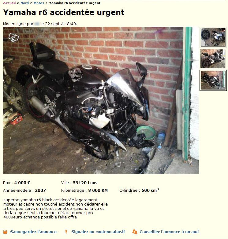 Moto l g rement accident e motos nord pas de calais - Le bon coin nord ameublement ...