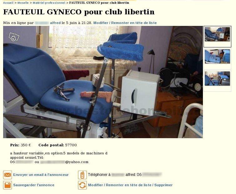 Fauteuil gyn co tout quip quipements industriels - Fauteuil club le bon coin ...