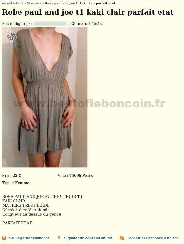 Robe paul and joe v tements le de france best of le bon coin - Leboncoin paris ile de france ...