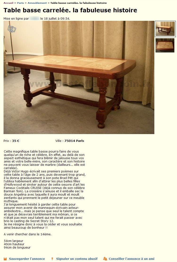 Table basse carrel e ameublement le de france best - Le bon coin meuble tv ile de france ...
