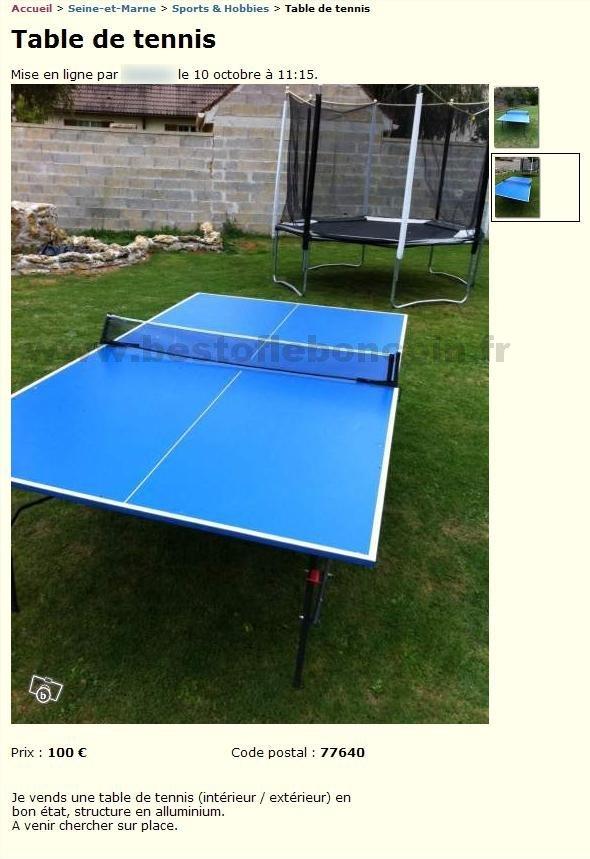 Table de tennis sports hobbies haute normandie - Tennis de table poitou charente ...