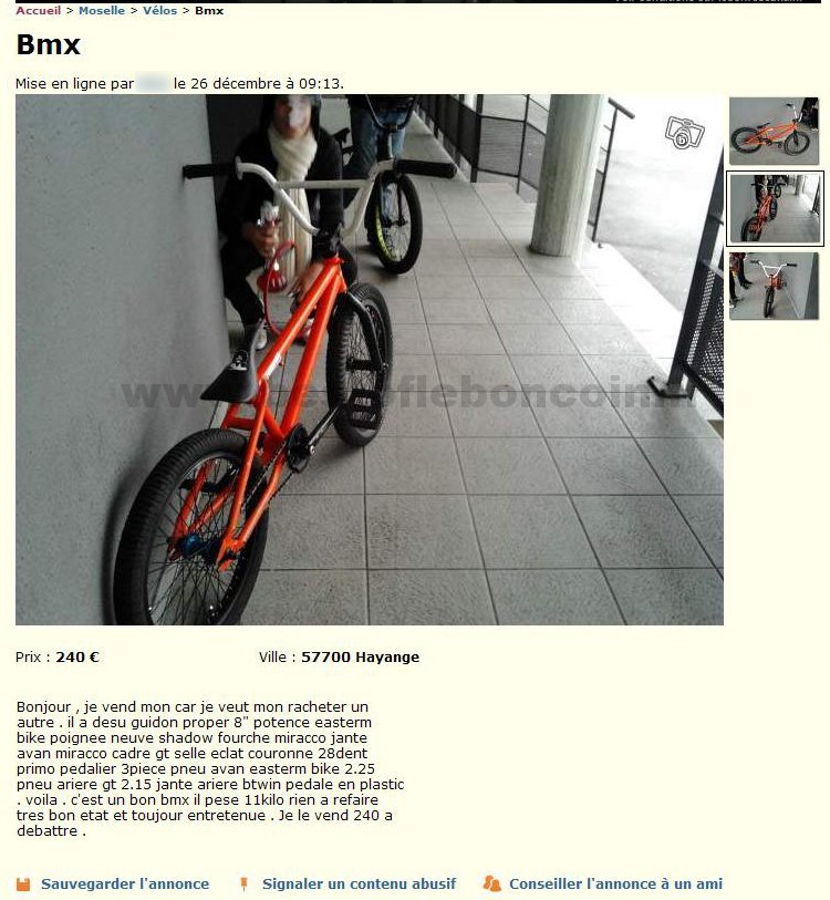 guidon bmx le bon coin