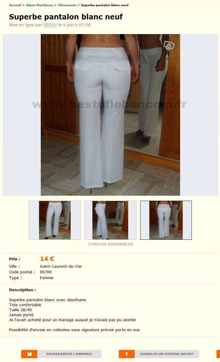 superbe pantalon blanc neuf v tements provence alpes c te d 39 azur best of le bon coin. Black Bedroom Furniture Sets. Home Design Ideas