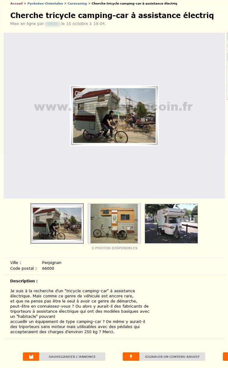 tricycle camping car caravaning languedoc roussillon best of le bon coin. Black Bedroom Furniture Sets. Home Design Ideas