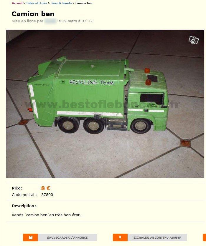 camion ben jeux jouets centre best of le bon coin. Black Bedroom Furniture Sets. Home Design Ideas