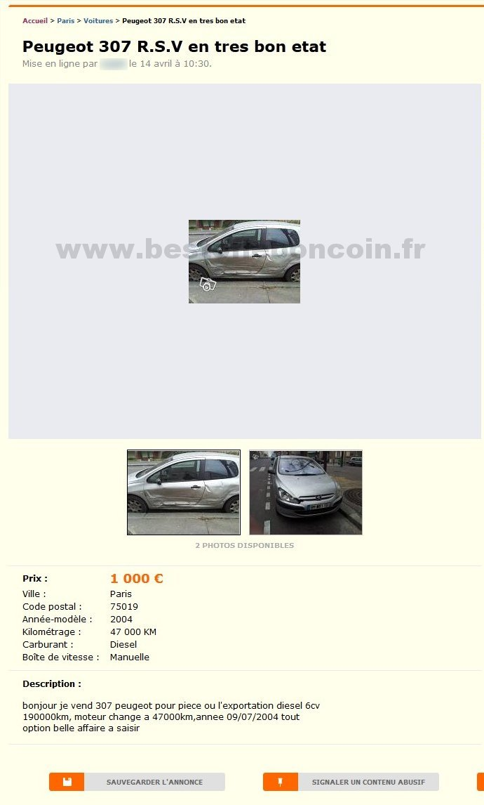 Peugeot 307 voitures le de france best of le bon coin - Boncoin ile de france ...