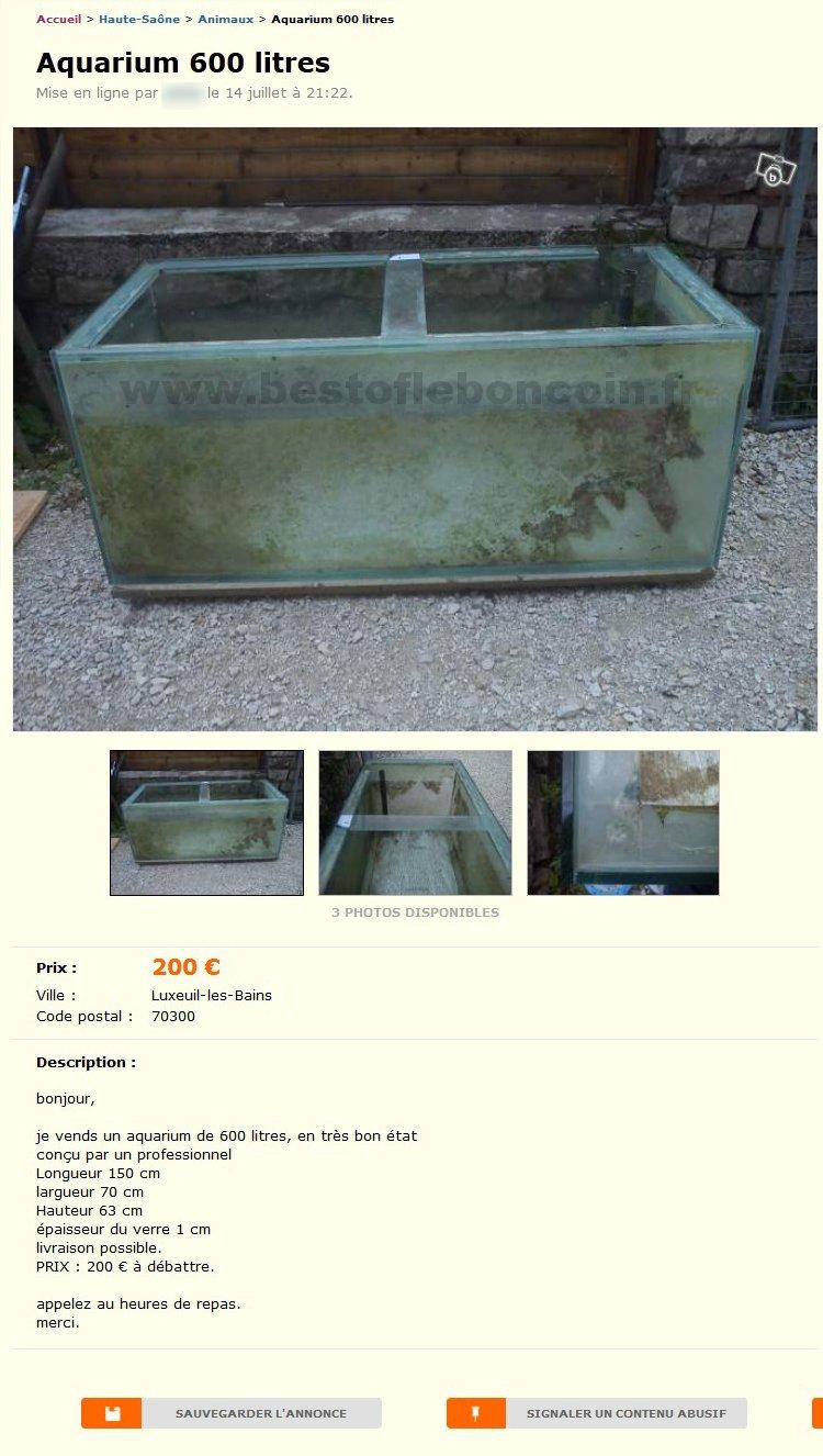 aquarium 600 litres animaux franche comt best of le bon coin. Black Bedroom Furniture Sets. Home Design Ideas