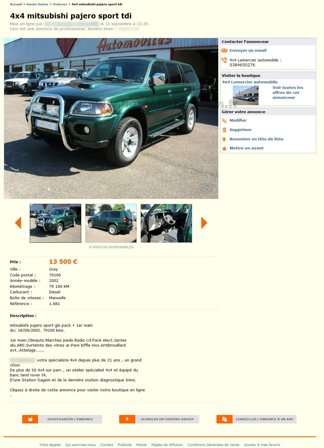 4x4 mitsubishi pajero voitures franche comt best of for Garage 4x4 franche comte