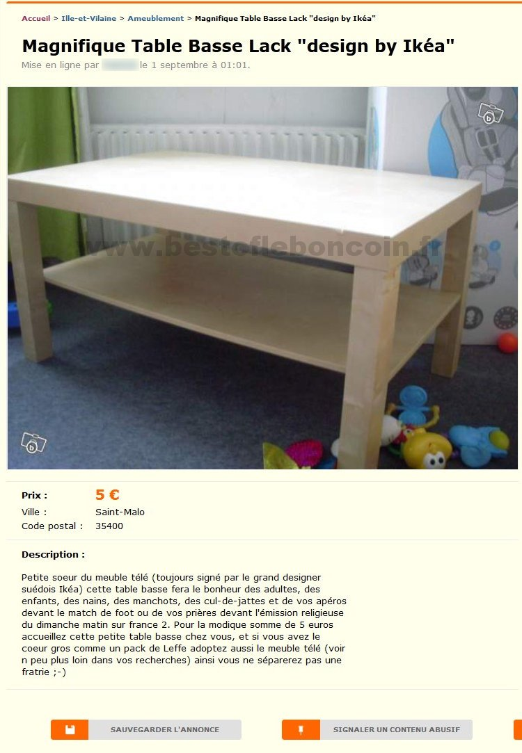 "Table Basse Lack ""by Ikea"""