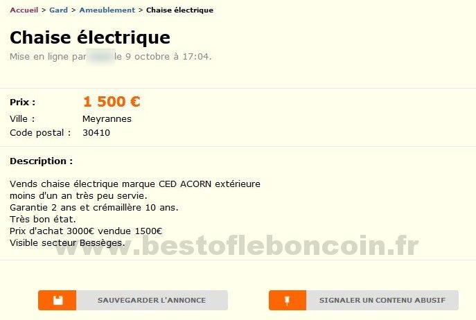Chaise electrique ameublement languedoc roussillon - Le bon coin languedoc roussillon ameublement ...