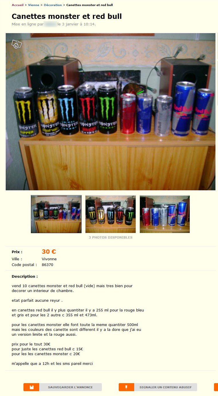 Canettes Monster et Red Bull