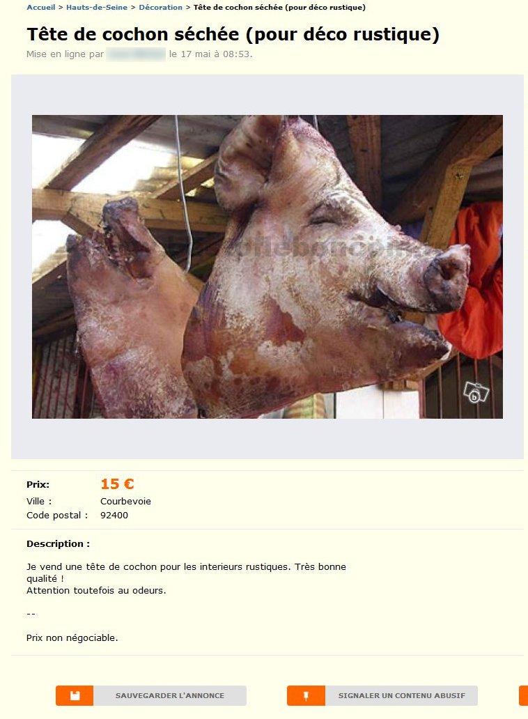 Tête de Cochon Séchée  Décoration  ÎledeFrance  Best