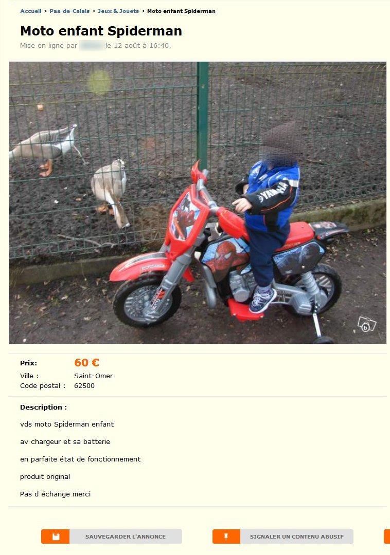 Moto Enfant Spiderman Jeux Jouets Nord Pas De Calais