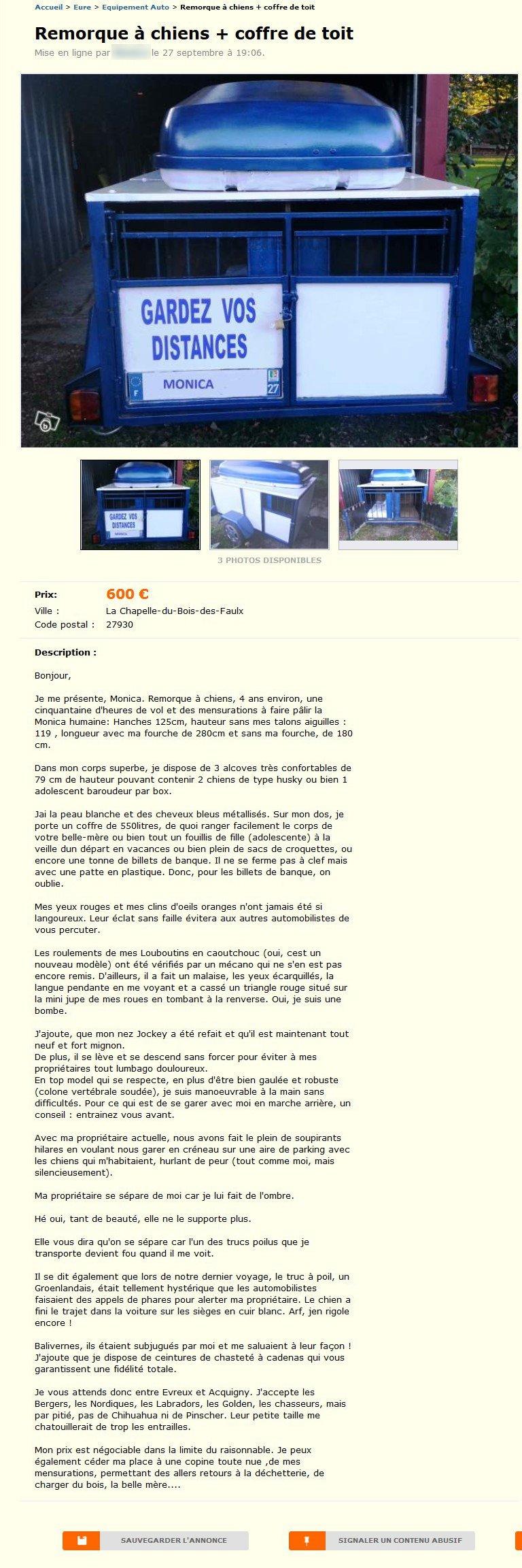 remorque chiens et coffre de toit equipement auto. Black Bedroom Furniture Sets. Home Design Ideas