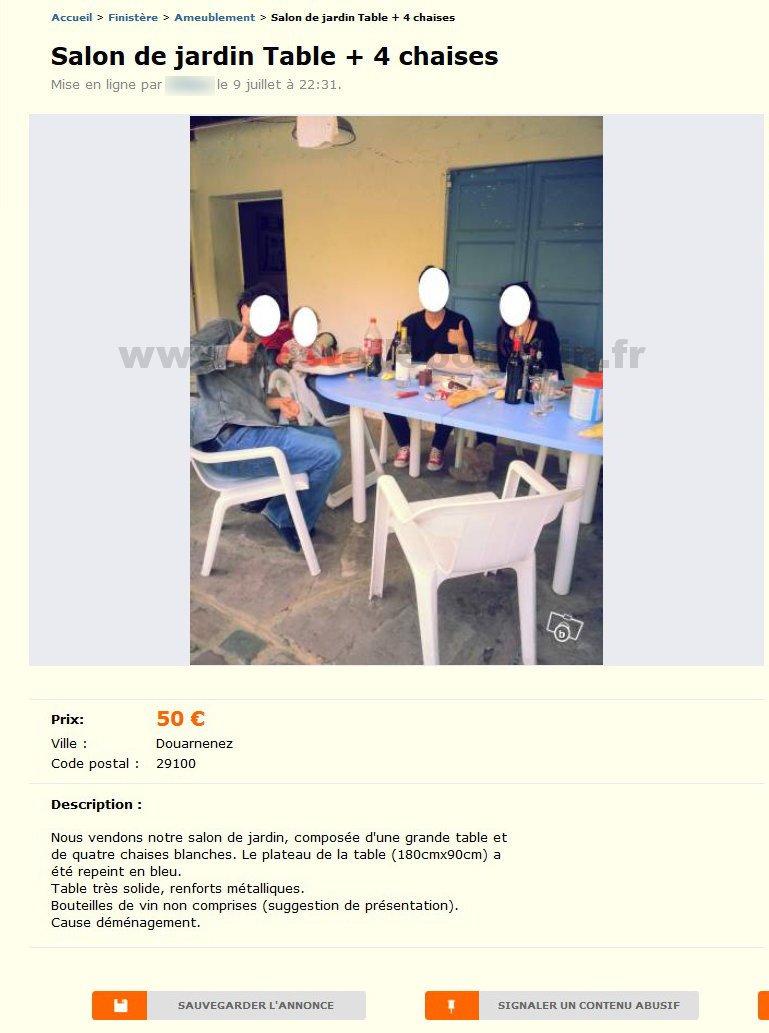 Salon De Jardin Table 4 Chaises Ameublement Bretagne