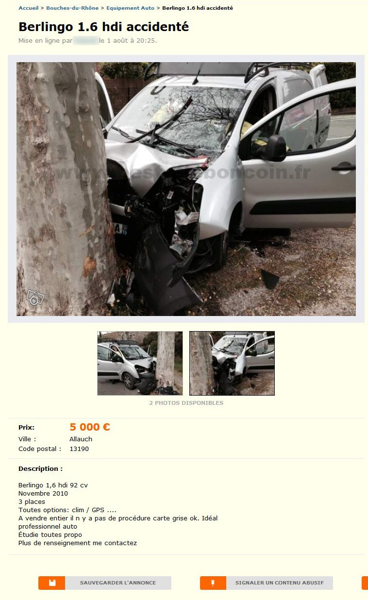 Berlingo 1.6 HDI Accidenté