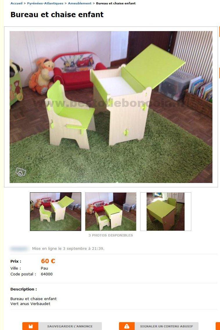 Bureau et chaise enfant ameublement aquitaine best - Bon coin lot et garonne ameublement ...
