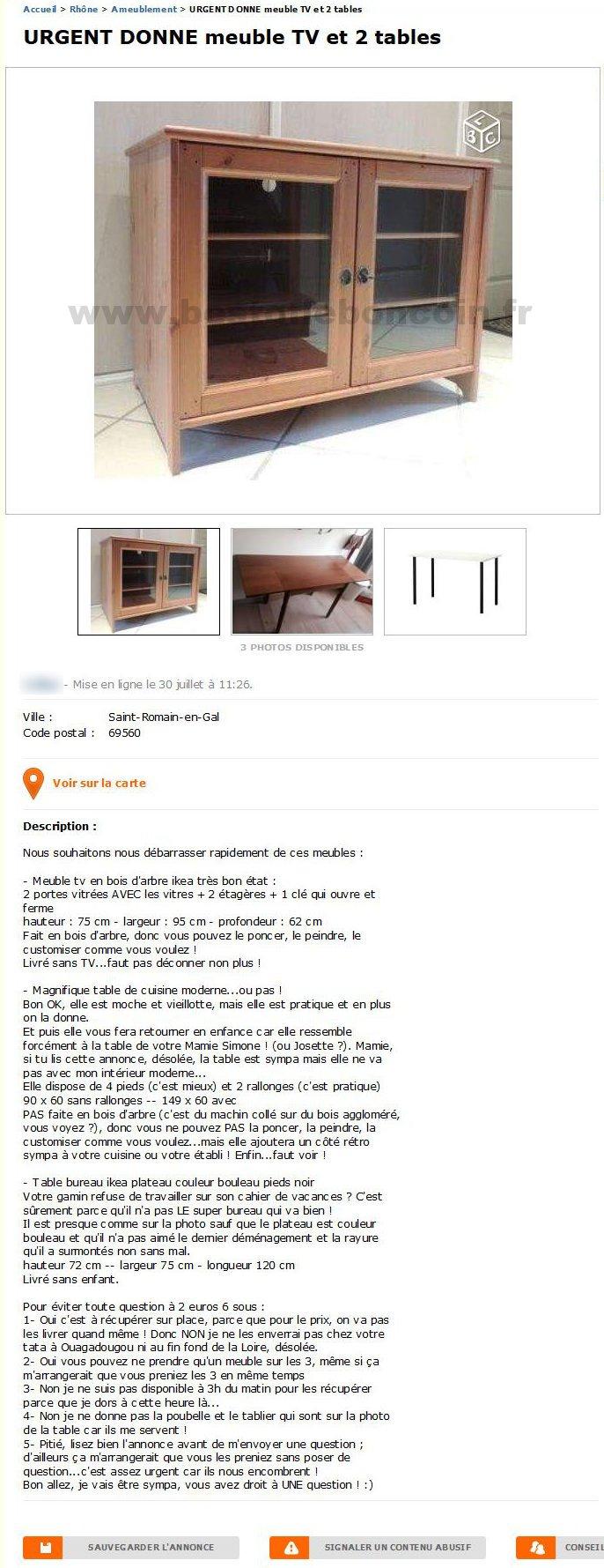 Urgent Donne Meuble Tv Et 2 Tables Ameublement Rhône