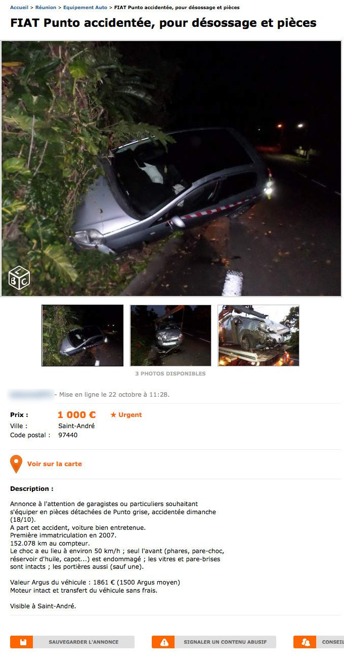 Fiat Punto Accidentée