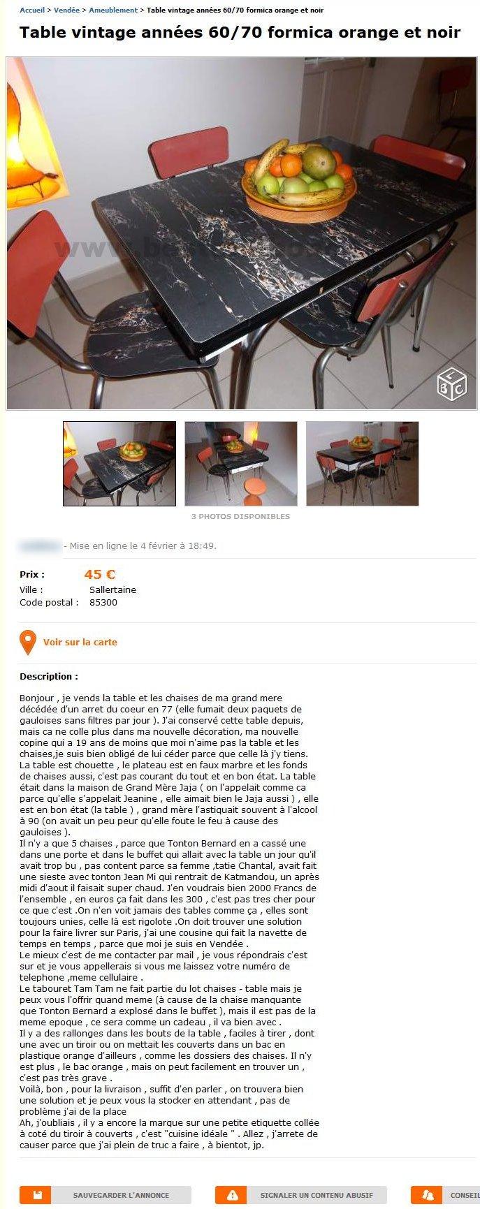 Table Vintage Années 6070 Formica Ameublement Pays De