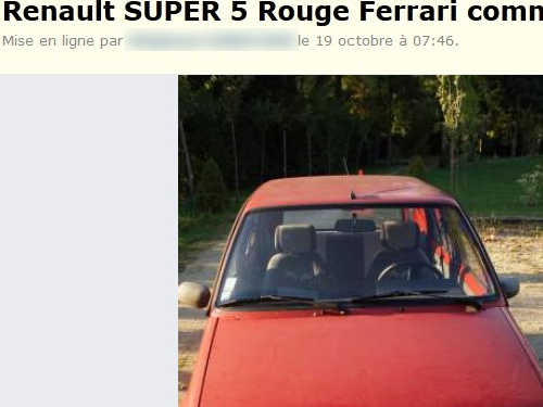renault super 5 rouger ferrari sur best of le bon coin. Black Bedroom Furniture Sets. Home Design Ideas